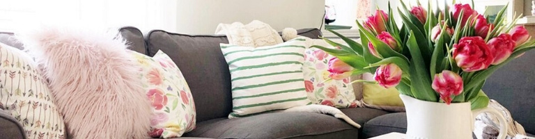 Spring decoration ideas: How to Decorate your living room with Sofa Throws and Pillows